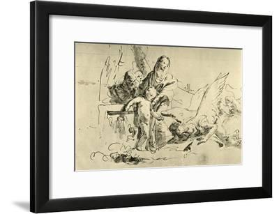 'Holy Family and Angels', mid 18th century, (1928)-Giovanni Battista Tiepolo-Framed Giclee Print