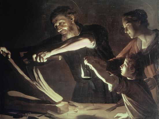 Holy Family in the Carpentery Shop-Gerrit van Honthorst-Giclee Print
