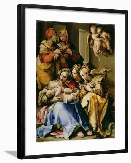 Holy Family with Saints Anne, Catherine of Alexandria, and Mary Magdalene, c.1560-9-Nosadella-Framed Giclee Print