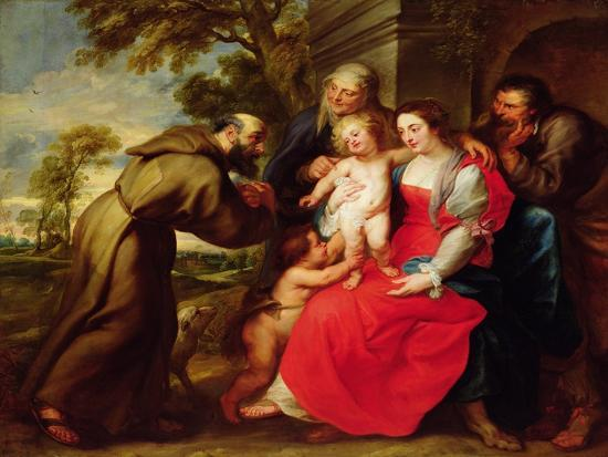Holy Family with St. Francis, C.1625-Peter Paul Rubens-Giclee Print