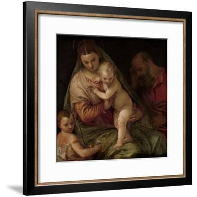 Holy Family with Young Saint John-Paolo Veronese-Framed Art Print