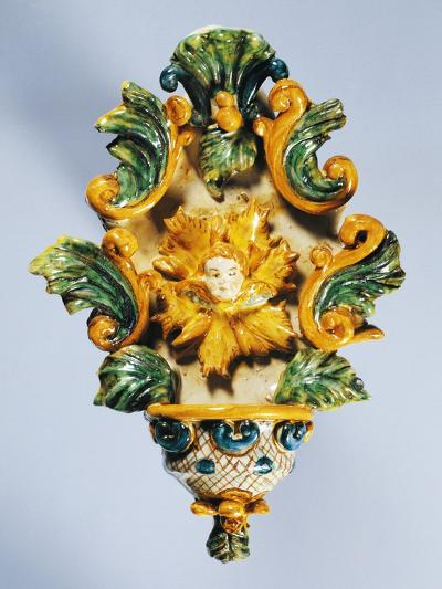 Holy Water Font Decorated in Yellow--Giclee Print