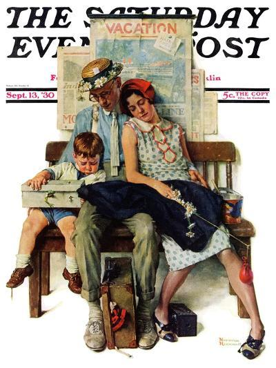 """""""Home from Vacation"""" Saturday Evening Post Cover, September 13,1930-Norman Rockwell-Giclee Print"""