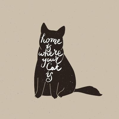 Home is Where Your Cat Is. Cute Cat Character and Quote. Trendy Hipster Hand Drawn Style Illustrati- _VectorStory_-Art Print
