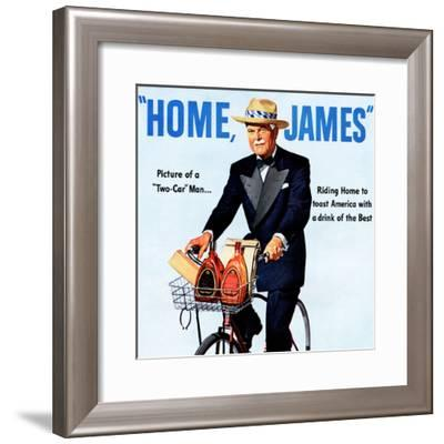 """Home, James"" Retro Whiskey Advertisement, Gentleman on Bicycle-Piddix-Framed Art Print"