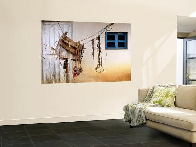 Home-Made Saddle Hanging Outside on Ropes-Douglas Steakley-Wall Mural