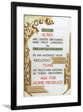 Home Produce, from the Series 'Home Gardens for Home Markets'-Paul Nash-Framed Giclee Print