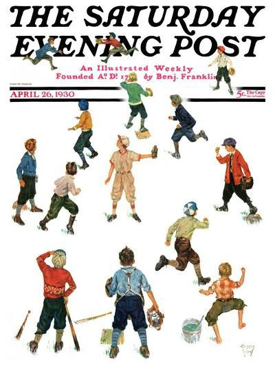 """""""Home Run,"""" Saturday Evening Post Cover, April 26, 1930-Eugene Iverd-Giclee Print"""