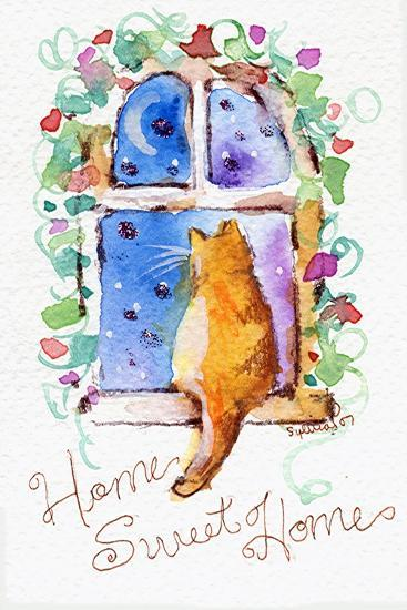 Home Sweet Home Cat in Window-sylvia pimental-Art Print