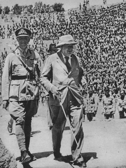 'Home via the Battlefields - Mr Churchill in the ancient Roman amphitheatre at Carthage', 1943-44-Unknown-Photographic Print