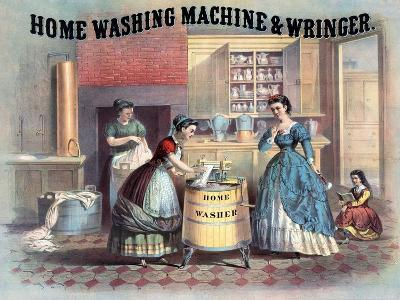 Home Washing Machine and Wringer, C.1869--Giclee Print