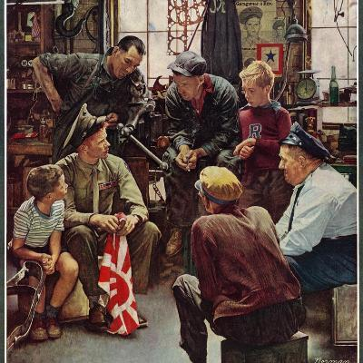 """""""Homecoming Marine"""", October 13,1945-Norman Rockwell-Giclee Print"""