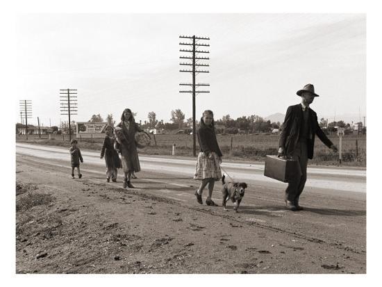 Homeless Migrant Family of Seven, Walking the Highway from Phoenix, Arizona, 1939-Dorothea Lange-Photo