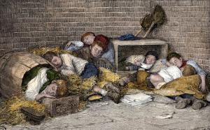 Homeless Street Boys Sleeping in an Alley in New York City, 1890s