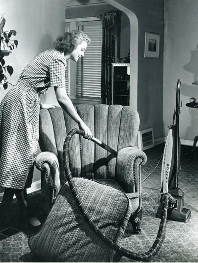Homemaker Vacuuming, USA, 1950--Photographic Print