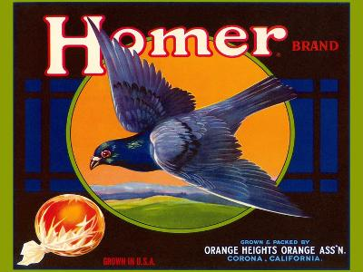 Homer Pigeon Label--Art Print