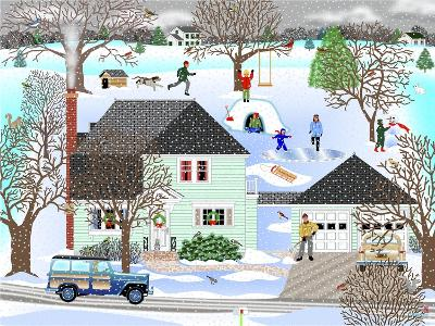 Homestead in Winter-Mark Frost-Giclee Print