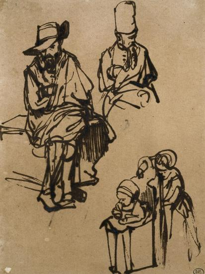 Homme assis, homme en buste coiffé d'un bonnet, et deux enfants-Rembrandt van Rijn-Giclee Print