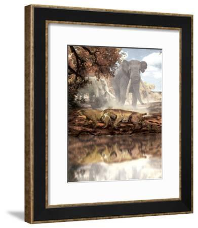 Homotherium Saber-Toothed Cats and Anancus Mammals in a Prehistoric Setting-Stocktrek Images-Framed Art Print