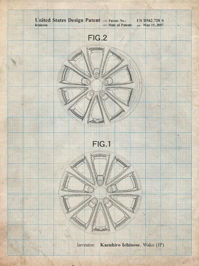 Honda Car Wheel Patent-Cole Borders-Art Print