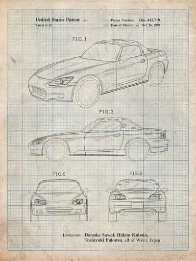 Honda S2000 Patent-Cole Borders-Art Print