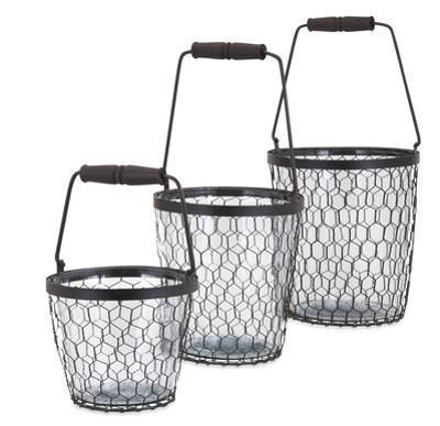 Honey Bee Glass Bucket Trio
