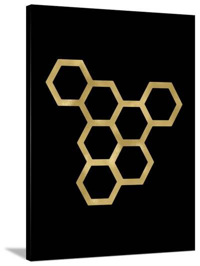 Honeycomb Modern Golden Black-Amy Brinkman-Stretched Canvas Print