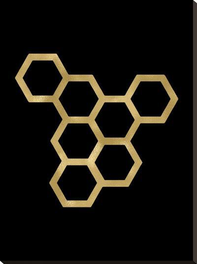 Honeycomb Modern Golden Black-Amy Brinkman-Stretched Canvas Print