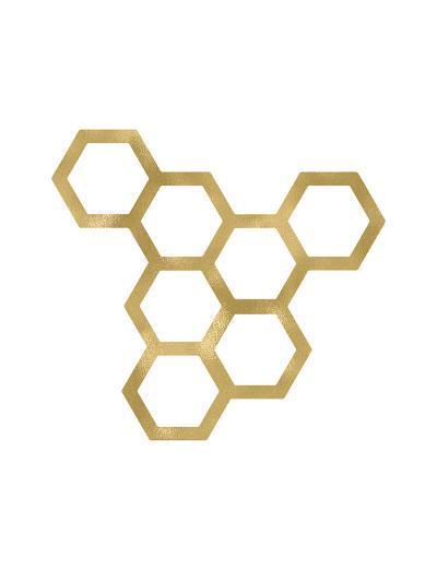 Honeycomb Modern Golden White-Amy Brinkman-Art Print