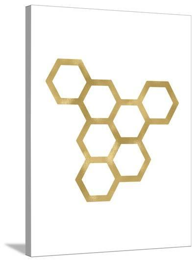 Honeycomb Modern Golden White-Amy Brinkman-Stretched Canvas Print