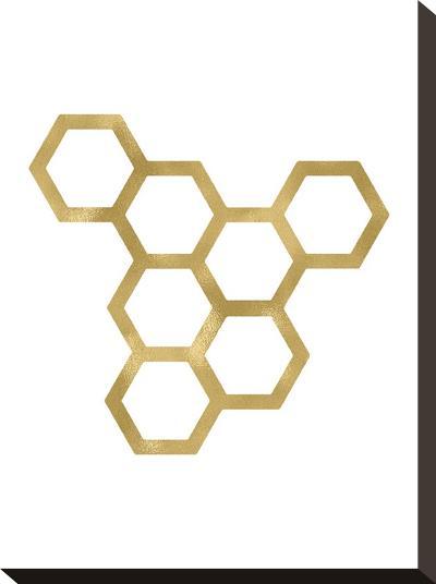 Honeycomb Modern Golden White-Amy Brinkman-Stretched Canvas Print