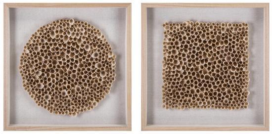 Honeycomb Wood Art Shadowbox Pair--Alternative Wall Decor