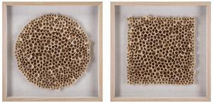 Honeycomb Wood Art Shadowbox Pair