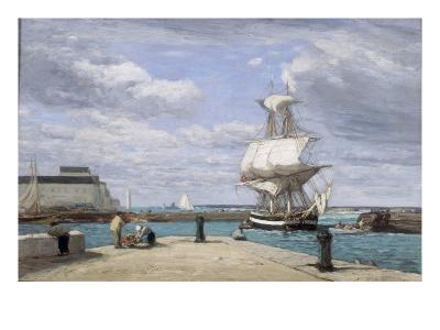 Honfleur, Le Port, c.1858-62-Eug?ne Boudin-Giclee Print