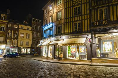 Honfleur Street Corner at Night, Normandy, France-Russ Bishop-Photographic Print
