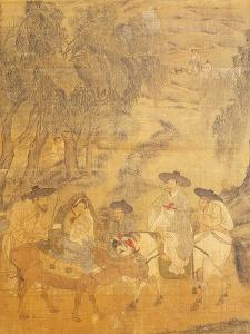 Country Meeting, from Genre Scenes, 8 Panel Screen, Ink and Colour on Silk, Korea, Detail by Hong-Do Kim