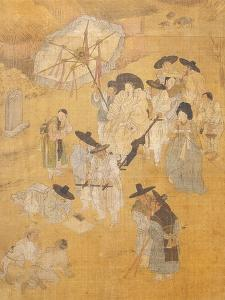 Promenade of a Notable, from Genre Scenes, 8 Panel Screen, Ink and Colour on Silk, Korea, Detail by Hong-Do Kim