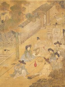 Street Musicians, from Genre Scenes, 8 Panel Screen, Ink and Colour on Silk, Korea, Detail by Hong-Do Kim