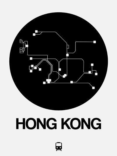 Hong Kong Black Subway Map-NaxArt-Art Print