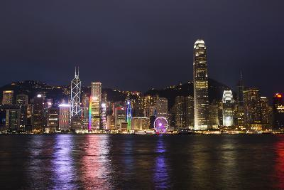 Hong Kong, China. Skyline Harbor with New Ferris Wheel and Reflections , Background-Bill Bachmann-Photographic Print