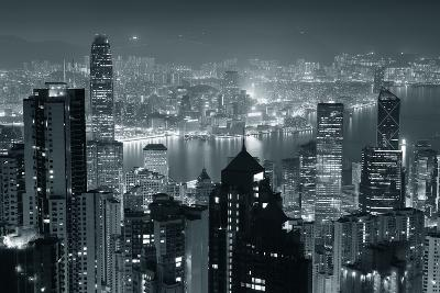Hong Kong City Skyline At Night With Victoria Harbor And Skyscrapers Illuminated-Songquan Deng-Art Print