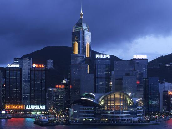Hong Kong Convention Centre at Dusk, Seen from Kowloon, Hong Kong, China-Holger Leue-Photographic Print