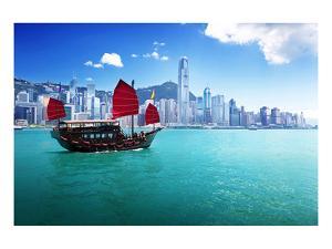 Hong Kong Harbour & Red Junk