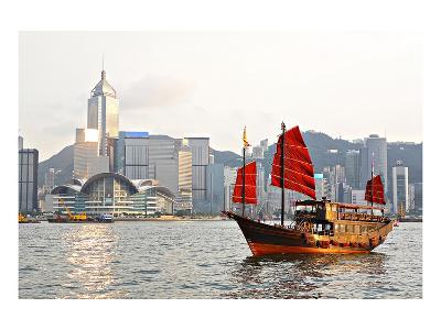 Hong Kong Harbour Tourist Junk--Art Print