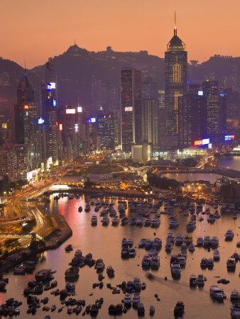 Hong Kong, Hong Kong Island, Causeway Bay View across Harbour to Victoria Peak, China-Peter Adams-Photographic Print