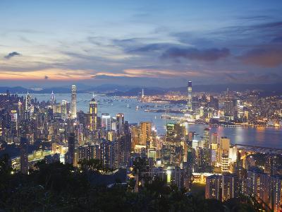 Hong Kong Island and Kowloon Skylines at Sunset, Hong Kong, China-Ian Trower-Photographic Print