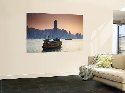Hong Kong Island Skyline and Tourist Boat Victoria Harbour, Hong Kong, China-Ian Trower-Wall Mural