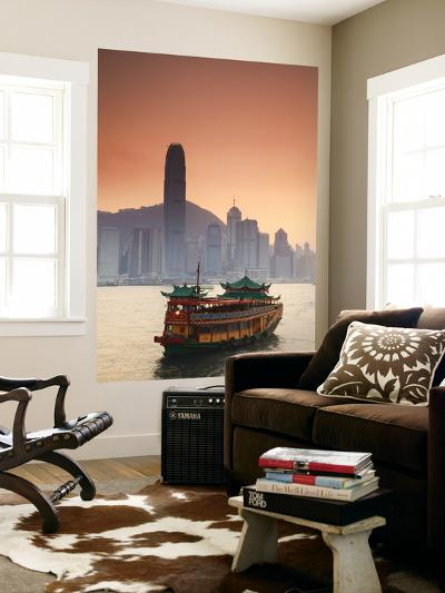 Hong Kong Island Skyline and Tourist Boat Victoria Harbour, Hong Kong, China-Ian Trower-Wall Mural