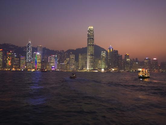 Hong Kong Island Skyline and Victoria Harbour at Dusk, Hong Kong, China-Amanda Hall-Photographic Print