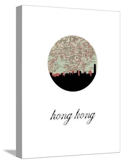 Hong Kong Map Skyline-Paperfinch 0-Stretched Canvas Print